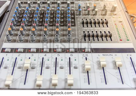 Sound music mixer control panel. Recording Studio. music concept Shallow depth of field