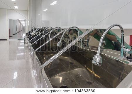 Modern stainless steel hand wash basin in new factory