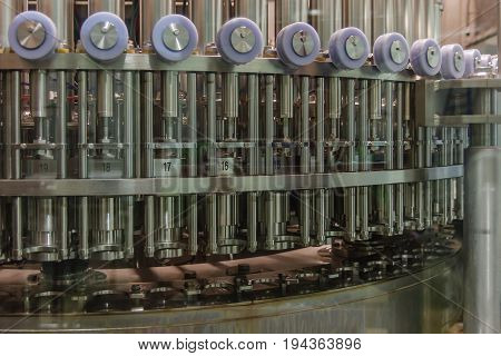 Automatic Bottle line. Filling machine for filling of liquid food products in glass bottles canning PET and HDPE.