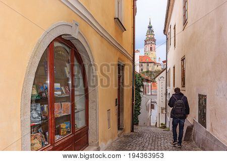 CESKY KRUMLOV, CZECH REPUBLIC - APRIL 15, 2016: View of old Town of Cesky Krumlov Czech Republic. UNESCO World Heritage Site.