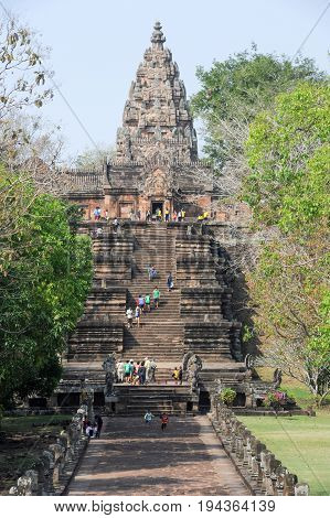 Phanom Rung Thailand - 1 February 2012: people walking in front of Phanom Rung hindu temple on Thailand