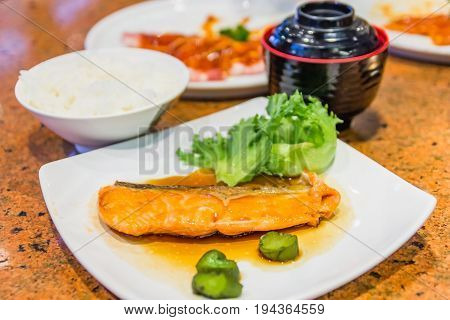 Salmon Teriyaki Set Grilled Salmon with Teriyaki Sauce Set Japanese cuisine