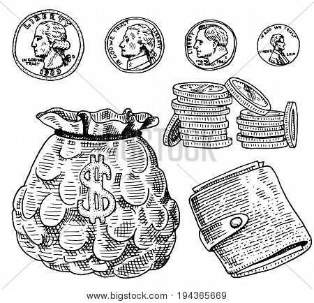 Detailed currency banknotes or american Franklin Green 100 dollars or cash and coin. engraved hand drawn in old sketch style, vintage money bill icons. financial success of US. Bag or purse of gold