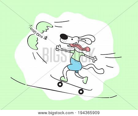 illustration of cartoon dog riding a skateboard and catching money. One million dollars flying. Happy businessman concept