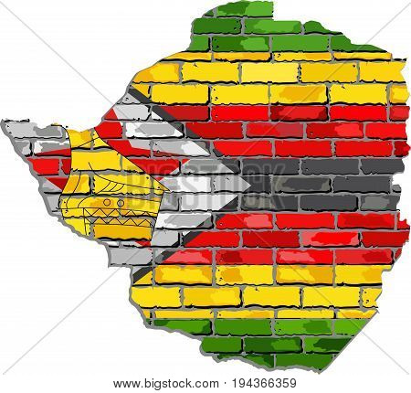 Zimbabwe map on a brick wall - Illustration,   Zimbabwe map with flag inside