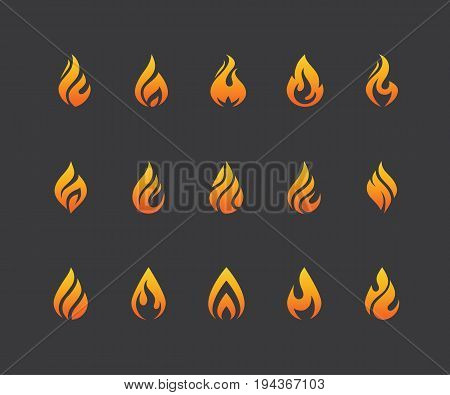 Set of flame icons. Hot fire burn torch bonfire symbol. Water drop shape. Oil and gas industry logo isolated on black background.