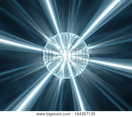 Black Abstract Background With Turquoise Star Or Explosion Texture. Blue Sphere With Rays, Beaming F