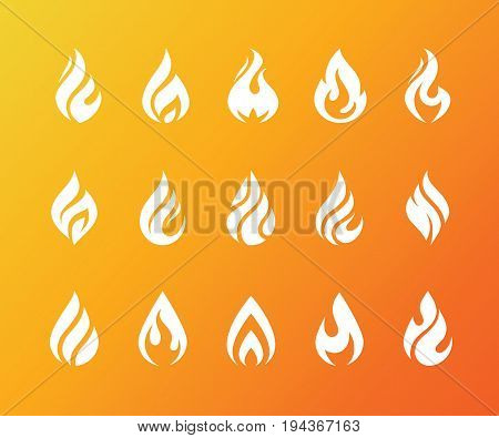Set of white flame icons. Hot fire burn torch bonfire symbol. Water drop shape. Oil and gas industry logo isolated on bright orange background.