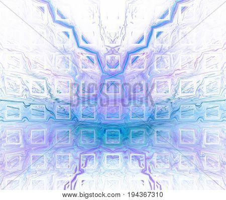 White Abstract Background With Blurred And Sharp Blue Texture. Turquoise Symmetrical Fractal Butterf