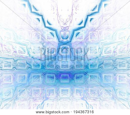White Abstract Background With Blurred And Sharp Turquoise Texture. Blue Symmetrical Fractal Butterf