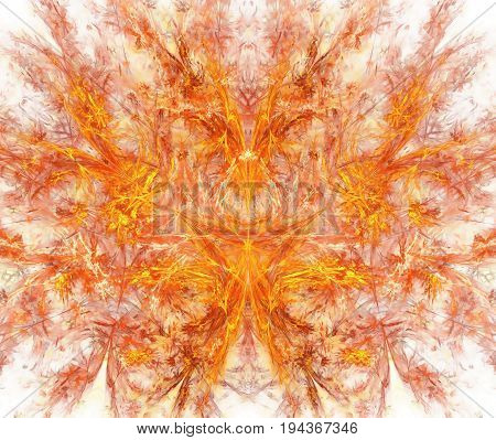 White Abstract Background With Exploding Red Fire Texture. Orange Symmetrical Flame Shaped Fractal P