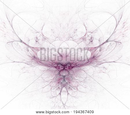 White Abstract Background With Circle Petals Texture. Purple Symmetrical Fractal Flower Shaped Patte