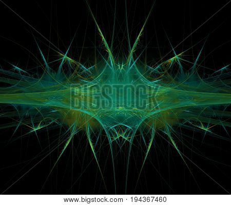 Black abstract background with blurred and sharp wedge texture. Green symmetrical fractal stripe with rays pattern centered.