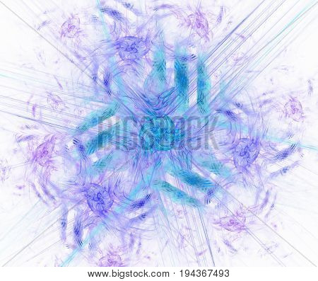 White abstract background with blue floral ornament texture. Purple symmetrical rays from the flower pattern.
