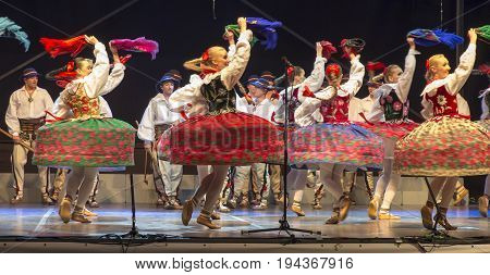 Koszecin Poland July 2 2015: Concert of Song and Dance Ensemble SLASK on the occasion of the end of 64 years of activity