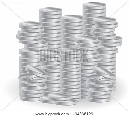 Piles of silver coins. Symbol of business success prosperity.