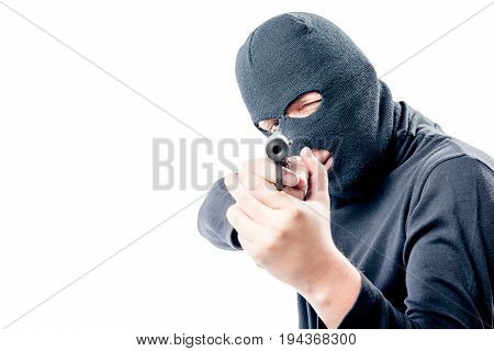A Man With A Gun In A Mask And Black Clothes Took Aim At You.