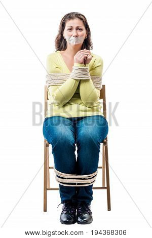 Connected Young Hostage In A Chair On A White Background