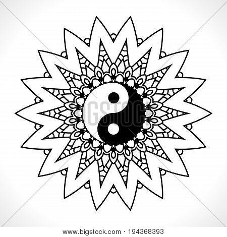 Flower Mandala For Coloring Book