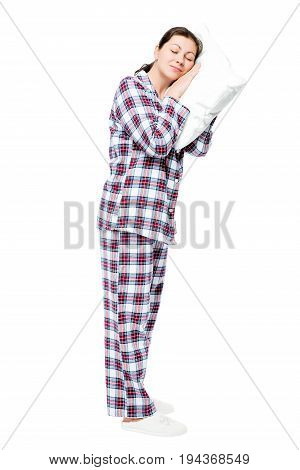 Tired Woman Asleep Standing, Portrait In Full Length On A White Background