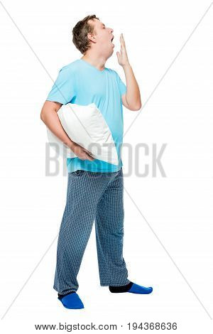 Sleepy Man In Pajamas Yawns, Portrait In Full Length On White Background