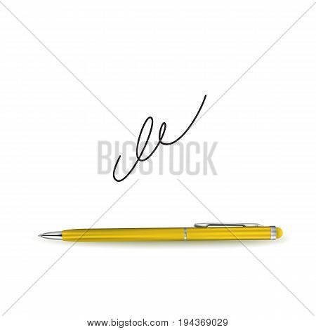 Realistic Golden Ball Pen and Signature Example Isolated on White Background. Contract and Agreement Symbol. Pact Accord or Convention Illustration