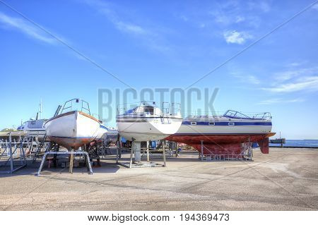 Drager Denmark - May 02.2013: Parking of boats on the shore of the Baltic sea