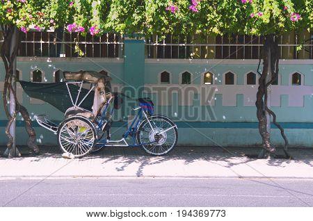 Cart of rickshaw to Vietnam. Asian coloring.