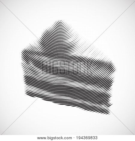 Striped Slice of Pie Illustration. Imitation of Hand Drawn Piece of Cake in Engraving Style on White Background. Stylish Illustration