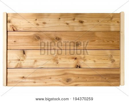 Larch wooden tray on white background isolated