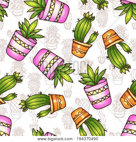 Cactus and succulents seamless pattern illustration. Vector plants in a pots. Hand drawn doodle cacti.