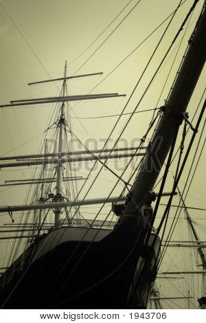 Masts of an old ship in the morning poster