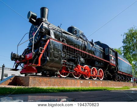 Voronezh, Russia - June 05, 2017: Monument of the locomotive of type 0-5-0 of the Er series at the Voronezh-1 station