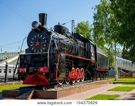 Voronezh, Russia - June 05, 2017: Monument to the locomotive of the Ayr series in the park at the railway station of the Voronezh station