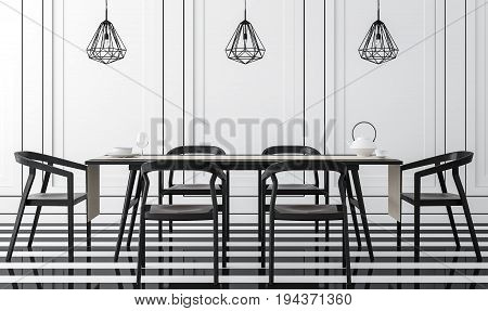 Modern vintage dining room with black and white 3d rendering image .There is a black and white floor. Wall decor with black groove and finished with black wood furniture.