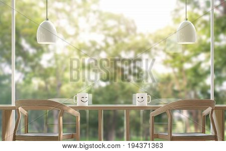 Smile Coffee cup in the morning with blur background 3d rendering image.The coffee table is located by the large window Overlooking to the nature. There is a wooden table and chair