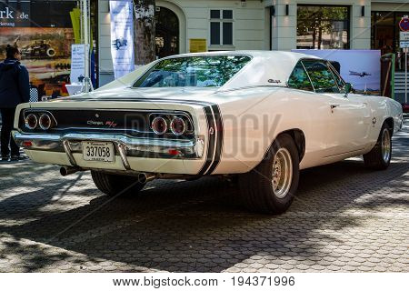 BERLIN - JUNE 17 2017: Mid-size car Dodge Charger R/T 1968. Rear view. Classic Days Berlin 2017.