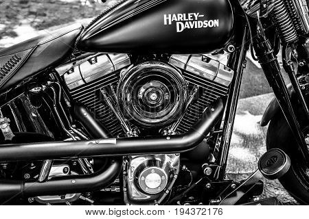 BERLIN - JUNE 17 2017: Engine of motorcycle Harley-Davidson close-up. Black and white. Classic Days Berlin 2017.
