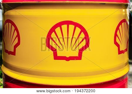 BERLIN - JUNE 17 2017: Shell emblem on the oil barrel. Royal Dutch Shell (Shell) is a British-Dutch multinational oil and gas company and the sixth-largest company in the world.