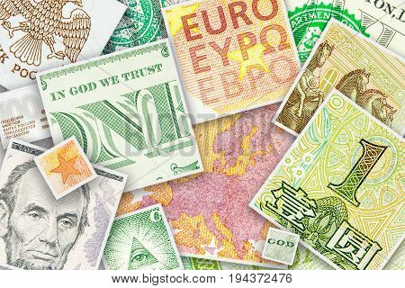 Four Main World Currencies Banknotes In Square Collage