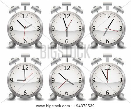 Set Metal Mechanical Realistic Alarm Clock, Ringing Clock, Different Time Of Day