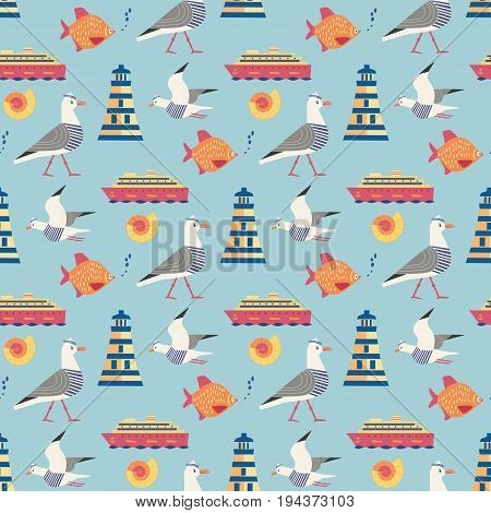 Maritime seamless pattern. Seagull nautical symbol. Freehand drawn cartoon style. Vector Seashore summer marine element. Template with sailing signs  background for textile, packaging print projects