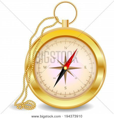 A Golden Compass With A Wind Rose On A Gold Chain. North, South, West, East, Geography, Coordinates,