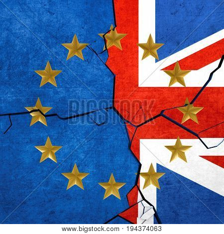 European union and United Kingdom flags breaking apart - 3d render