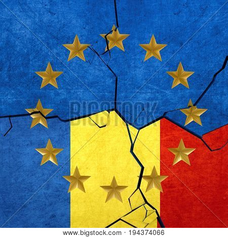 European union and Romanian flags breaking apart - 3d render