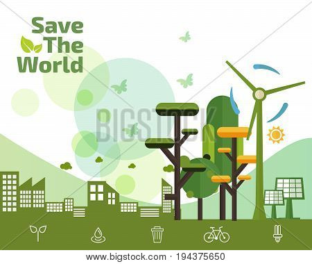 Eco Friendly green energy concept save the world vector illustration flat design