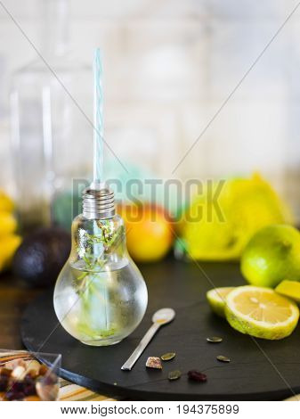 .small Design  Jar With Straw Filled With Infused Water Of Lemon, Straw. Fresh, Summer Mood.