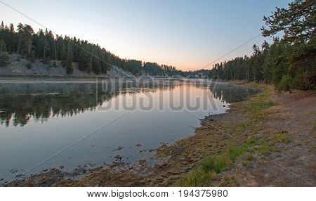 Sunset at Otter Creek at Yellowstone River in Yellowstone National Park in Wyoming United States