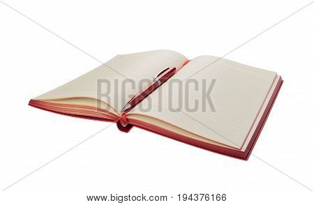 Ballpoint pen rests on a diary on a white background