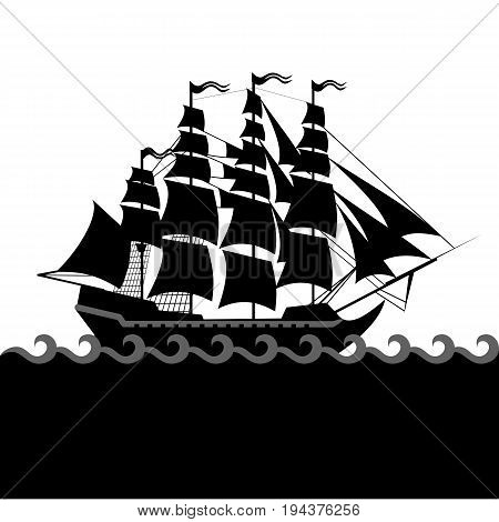 Vector ships set with separate editable elements. Design for yacht clubs, shirts, etc.